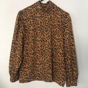 Vintage SK & Company Leopard Print Blouse